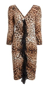 ROBERTO CAVALLI HERITAGE JAGUAR PRINT RUCHED DRESS