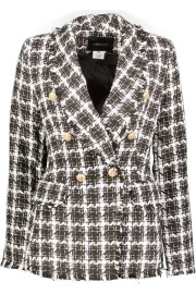 PARIS PICKED TWEED LONG BLAZER | BLACK & WHITE
