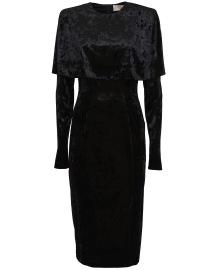 SARA BATTAGLIA VELVET CAPE LONGUETTE DRESS | BLACK