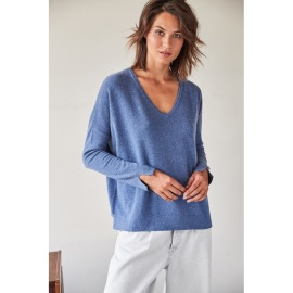 NOTSHY V NECK CASHMERE SWEATER | DENIM BLUE