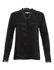 GOLDHAWK CHARLOTTE SILK & LACE SHIRT | BLACK