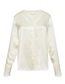 GOLDHAWK CHARLOTTE SILK & LACE SHIRT | CREAM DOVE