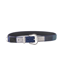 NANNI MILANO BLUE PATCHWORK LEATHER SUEDE BELT