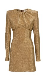 SARA BATTAGLIA GOLD LUREX MINI DRESS
