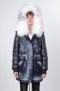 SANSAR PARKA BLACK DENIM WITH MARBLED FROST AND FUR