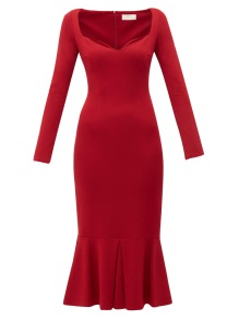 SARA BATTAGLIA RED PLEATED HEM DRESS