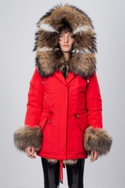 SANSAR RED MIDI PARKA WITH FINNRACOON & BLUE FOX