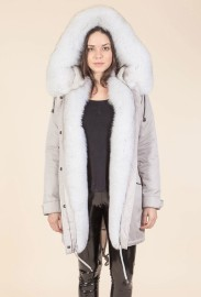 SANSAR STONE MIDI PARKA WITH BLUE FOX