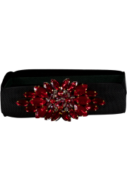 PARIS PICKED CRYSTAL STRETCH BELT | RUBY