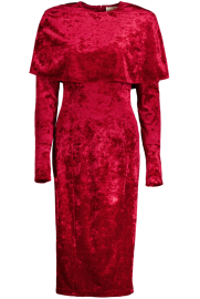 SARA BATTAGLIA VELVET CAPE LONGUETTE DRESS | RED