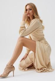 MELISSA ODABASH GOLD LONG SLIT DRESS | BREE