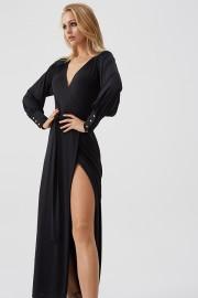 MELISSA ODABASH BLACK LONG SLIT DRESS   BLACK