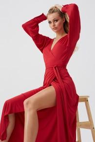 MELISSA ODABASH RED LONG SLIT DRESS | LIBBY