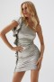 MELISSA ODABASH SILVER MINI RUFFLE DRESS | DAHLIA
