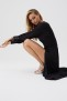MELISSA ODABASH BLACK LONG SLIT DRESS | BLACK