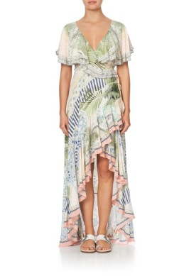 Camilla - Frill sleeve long dress