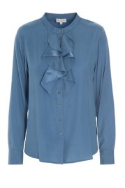 DEA KUDIBAL RUFFLE STRETCH SILK TUNIC | SILVER BLUE