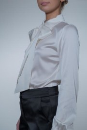VESNA W SILK STRETCH MEGHAN BLOUSE IVORY