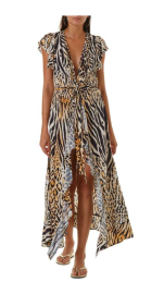 MELISSA ODABASH BRIANNA FRILL WRAP MAXI DRESS | CHEETAH
