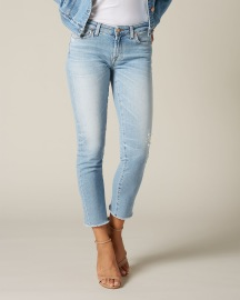 7 FOR ALL MANKIND PYPER CROP LUXE VINTAGE BLUE EYES WITH RAW CUT AND DISTRESSED