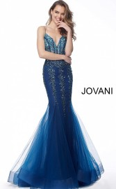 JOVANI NAVY EMBELLISHED V-NECK MERMAID GOWN