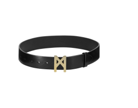MARTA LARSSON LEATHER GOLD LOGO BELT BLACK