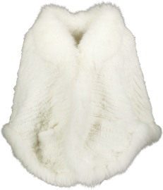 PARIS KNITTED FUR STOLA RABBIT & FOX | WHITE