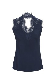 GOLDHAWK GINA SILK LACE CAMI NAVY