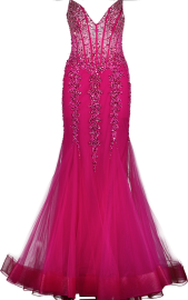 JOVANI FUSHIA EMBELLISHED V-NECK MERMAID GOWN