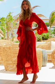 MELISSA ODABASH CHERYL LONG WRAP DRESS RED