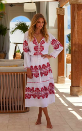 MELISSA LELA KAFTAN DRESS RED/WHITE