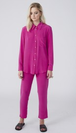 MARTA LARSSON SMITH FUSCHIA SILK BOYFIREND SHIRT
