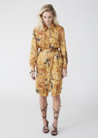 MARTA LARSSON SILK SHIRT DRESS YELLOW FLOURITE