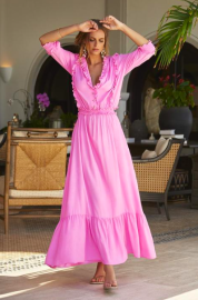 MELISSA ODABASH TALITHA FRILL MAXI DRESS ROSE