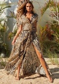 MELISSA ODABASH NAOMI CHEETAH MAXI SHIRT DRESS