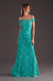 OLVI'S STRETCH LACE GOWN BLUE LAGOON