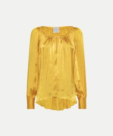 FORTE_FORTE GATHERED MOIRÉ SATIN DRAWSTRING SHIRT CITRINE
