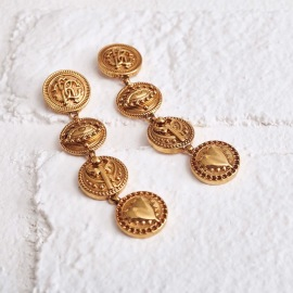 ROBERTO CAVALLI GOLD ANTIQUE COIN EARRINGS
