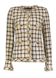 MARUSCHKA DE MARGO BEIGE BLACK CHECK TWEED LONG JACKET