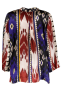 FORTE_FORTE IKAT PRINT ON SILK JACKET IN BLUE TONES