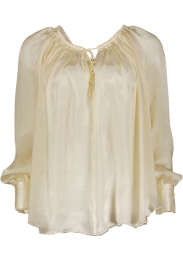 FORTE_FORTE GATHERED MOIRÉ SATIN DRAWSTRING SHIRT CREAM