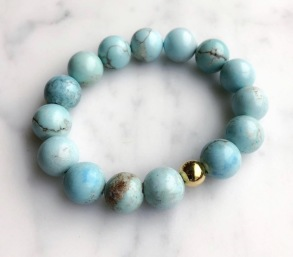 SANDRA THERESA TURQUOISE BEAD STRETCH BRACELET