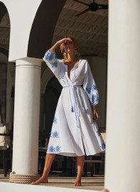 MELISSA ODABASH AUDREY KAFTAN EMBROIDERED DRESS