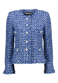 MARUSCHKA DE MARGO TWEED JACKET BLUE & PEARL BUTTONS