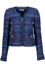 MARUSCHKA DE MARGO SHORT V JACKET TWEED BLUE MULTI