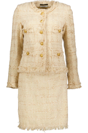 MARUSCHKA DE MARGO TWEED SUIT BEIGE & GOLD BUTTONS