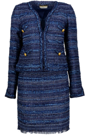 MARUSCHKA DE MARGO SHORT V JACKET TWEED BLUE MULTI SUIT