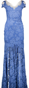 OLVI'S STRETCH LACE GOWN RUSHED BACK BLUE