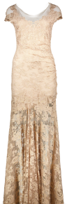 OLVI'S STRETCH LACE GOWN CHAMPAGNE RUSCHED BACK
