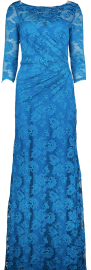 OLVI'S STRETCH LACE GOWN  OCEAN BLUE CREW NECK